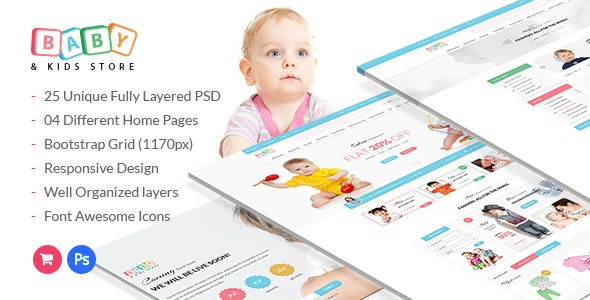 baby kids store ecommerce psd template by webstrot themeforest - Kids Home Pages