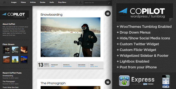 CoPilot WordPress and Tumblog Theme (Personal) for Sale