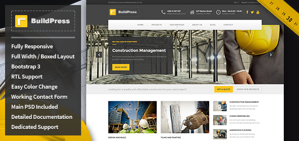 Buildpress construction business html template by uiuxaesthetics buildpress construction business html template business corporate flashek Choice Image