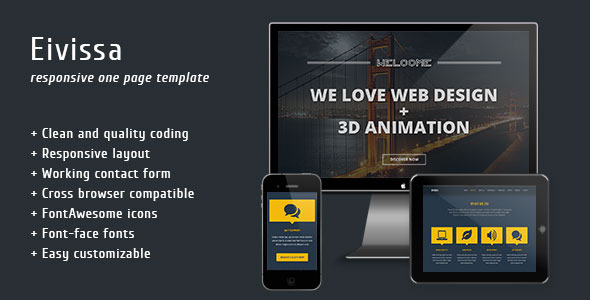 eivissa responsive one page template by epic themes themeforest