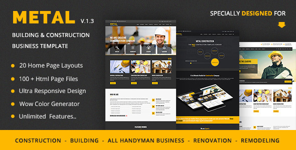 Metal Mobile Friendly Building Construction Business Template By - Home remodeling website templates