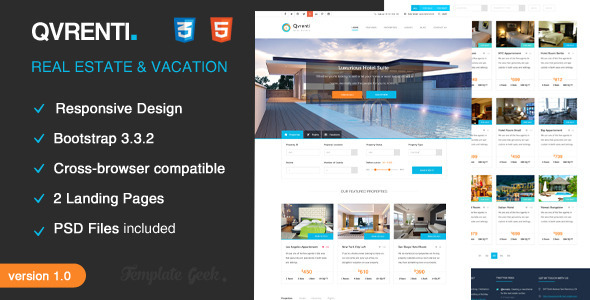 qvrenti responsive real estate html5 template by template geek