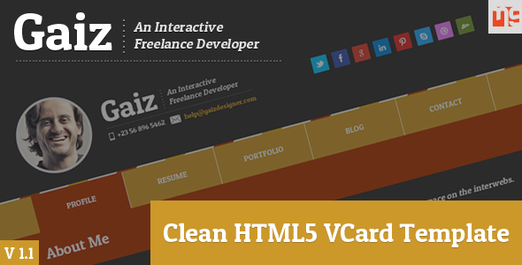 Gaiz clean horizontal scrolling responsive vcard by for Horizontal menu templates free download