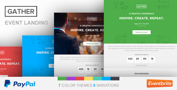 Event Landing Page Template - Gather by surjithctly | ThemeForest