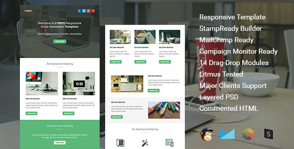 Corpo Responsive Email Template By Guiwidgets ThemeForest - Litmus email templates
