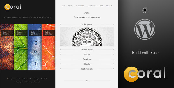 Coral WordPress Theme (Portfolio) for Sale