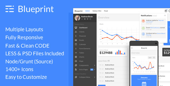 Blueprint responsive admin dashboard template by frontendmatter blueprint responsive admin dashboard template admin templates site templates malvernweather Images