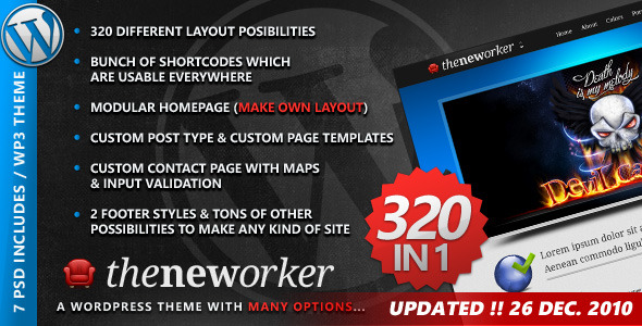 The Neworker WordPress Premium theme 320 in 1 (Creative) Theme for Sale