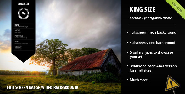 King Size - fullscreen background template professional website template