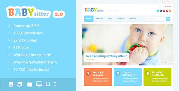 babysitter responsive html template by dan fisher themeforest