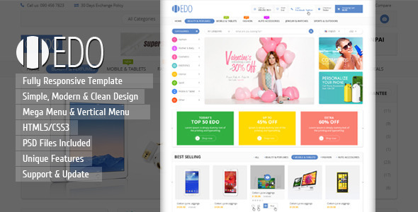 EDO - Ecommerce Responsive HTML Template by kutethemes | ThemeForest