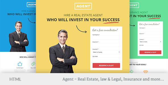 Multipurpose Landing Page Template Agents By OhDearUI ThemeForest - Real estate landing page template free