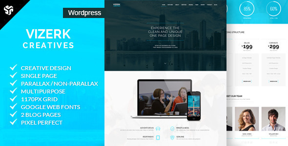 vizerk one page parallax wordpress theme by designingmedia
