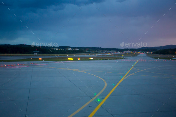 Landing Lights At Night On Airport Runway Stock Photo By Piccaya | PhotoDune
