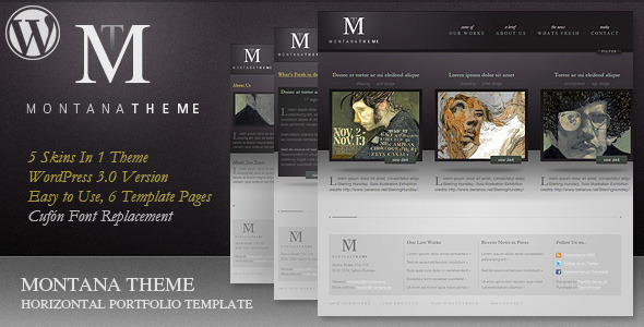 Montana Theme - WP Horizontal Portfolio Theme for Sale