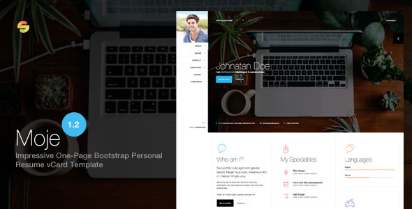 Moje Responsive Bootstrap Personal Resume VCard HTMLCSS Theme By - Responsive css template