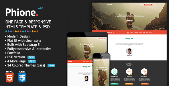 phione onepage parallax responsive html template by mrsarac