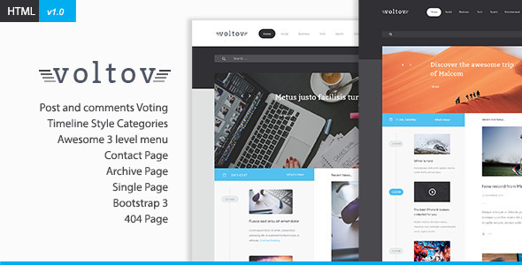 Voltov   Blog and Magzine HTML Template by xvelopers | ThemeForest