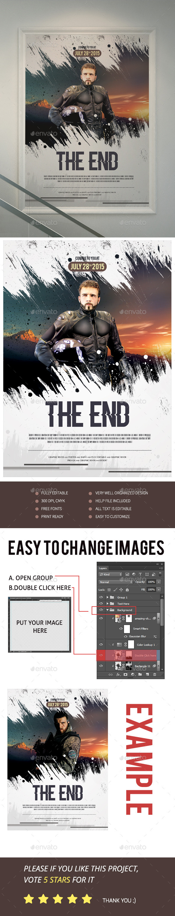 Editable movie poster templates