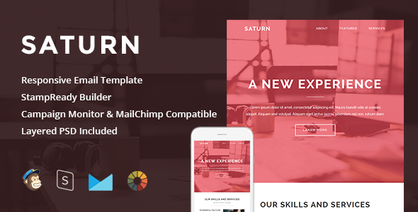 Saturn Responsive Email StampReady Builder By LEVELII ThemeForest - Mailchimp psd template