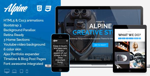 alpine responsive one page parallax template by milkshakethemes