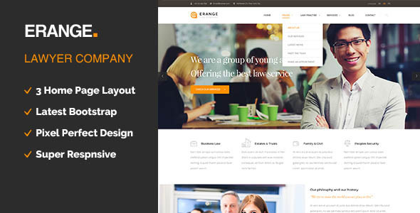 Erange Responsive HTML Template For Law Firm By Templatepath - Law firm templates