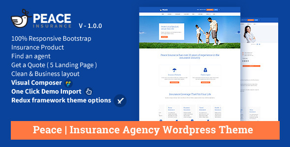 Peace – Insurance Agency WordPress Theme by OceanThemes | ThemeForest