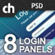 8 Modern &#38; Web 2.0 Login/Signup Panels - GraphicRiver Item for Sale