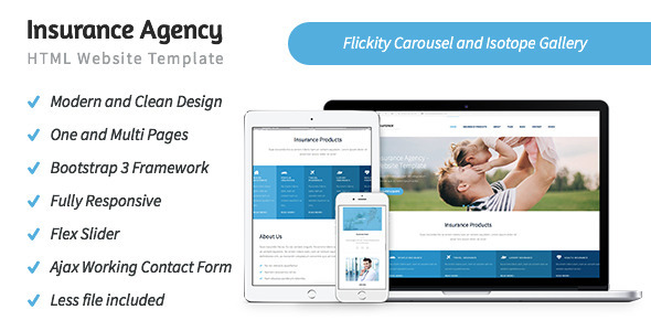 insurance agency template  Insurance Agency - HTML5 Website Template by rayoflightt | ThemeForest
