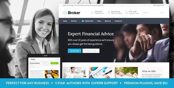 broker business and finance wordpress theme by commercegurus