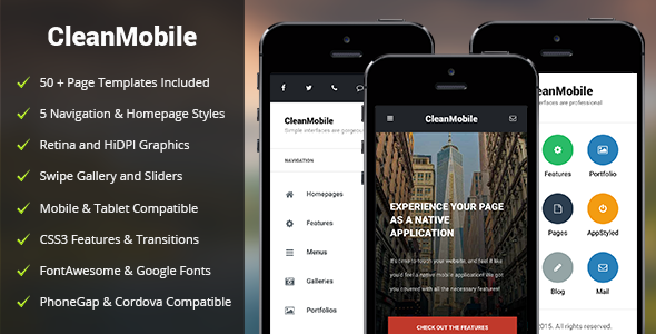 Clean Mobile | Mobile Template by Enabled | ThemeForest on facebook about us page, facebook login screen, facebook sign up page, facebook log out,