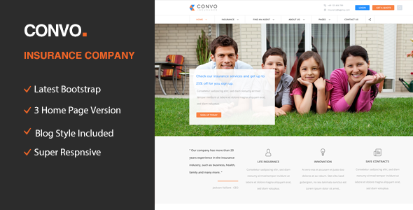 insurance html5 template  Convo - HTML5 template for Business And Insurance Agency by ...