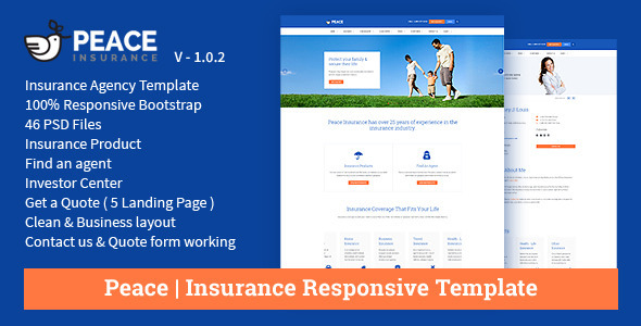 product insurance template  Peace – Insurance Responsive HTML Template. by jitu | ThemeForest