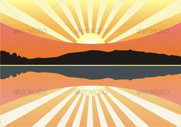 stock vector : Young family Silhouette, sunset vector cartoon background