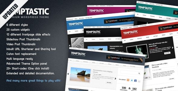 Temptastic - Premium WordPress Magazine Theme (Blog / Magazine) for Sale