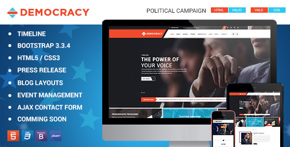 Democracy HTML5 - CSS3 Theme by kodeforest | ThemeForest