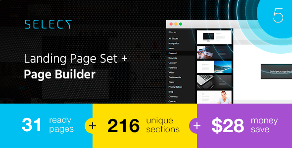 Select - Landing Page Set with Page Builder by multifour | ThemeForest