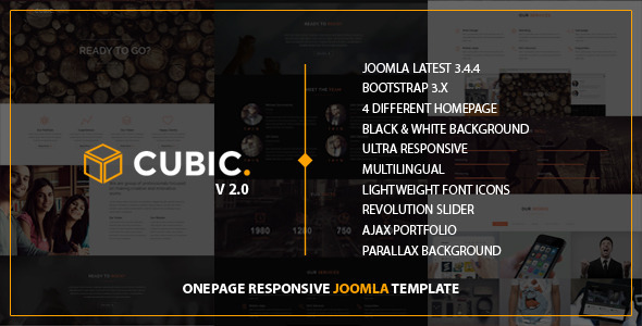 cubic one page responsive joomla template by pranontheme