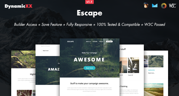 Escape responsive email online builder by dynamicxx themeforest escape responsive email online builder email templates marketing pronofoot35fo Image collections