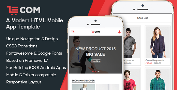 ECom Mobile App HTML Template By BootXperts ThemeForest - Google apps templates