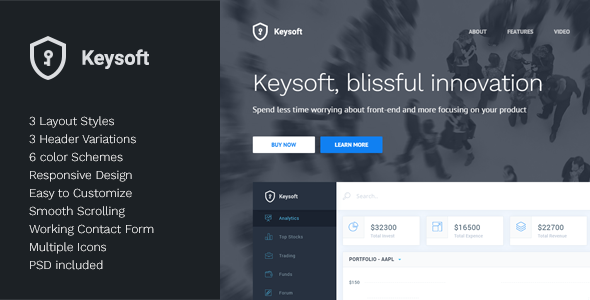 KeySoft - Software Landing Page by Key-Design | ThemeForest