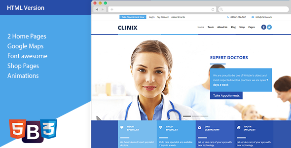 clinix medical html template by xvelopers themeforest