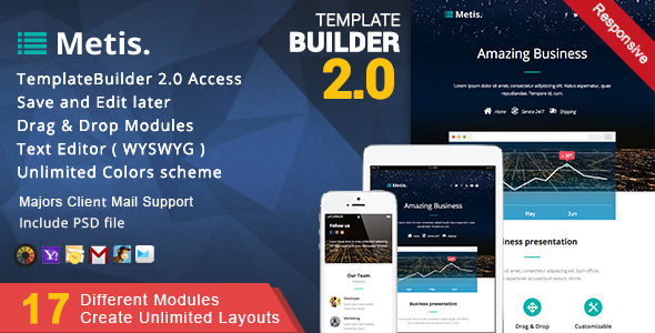 Metis - Responsive Email + MailBuild Online by akedodee | ThemeForest