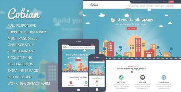 Cobian - Flat Bootstrap Landing WordPress Theme by Ninetheme ...