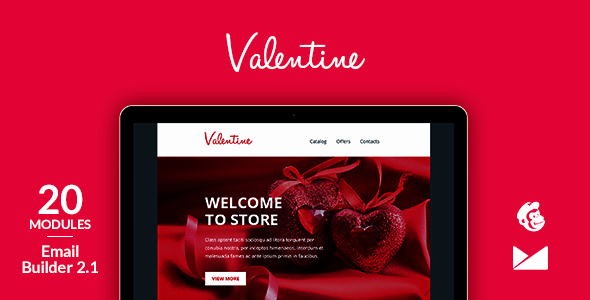 Valentine Email Template + Online Emailbuilder 2.1 by web4pro ...