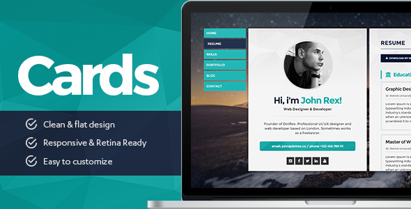 Cards Personal vCard ResumeCV Portfolio WordPress Theme by