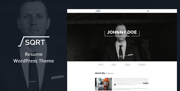 wordpress resume theme squareroot by thimpress themeforest. Resume Example. Resume CV Cover Letter