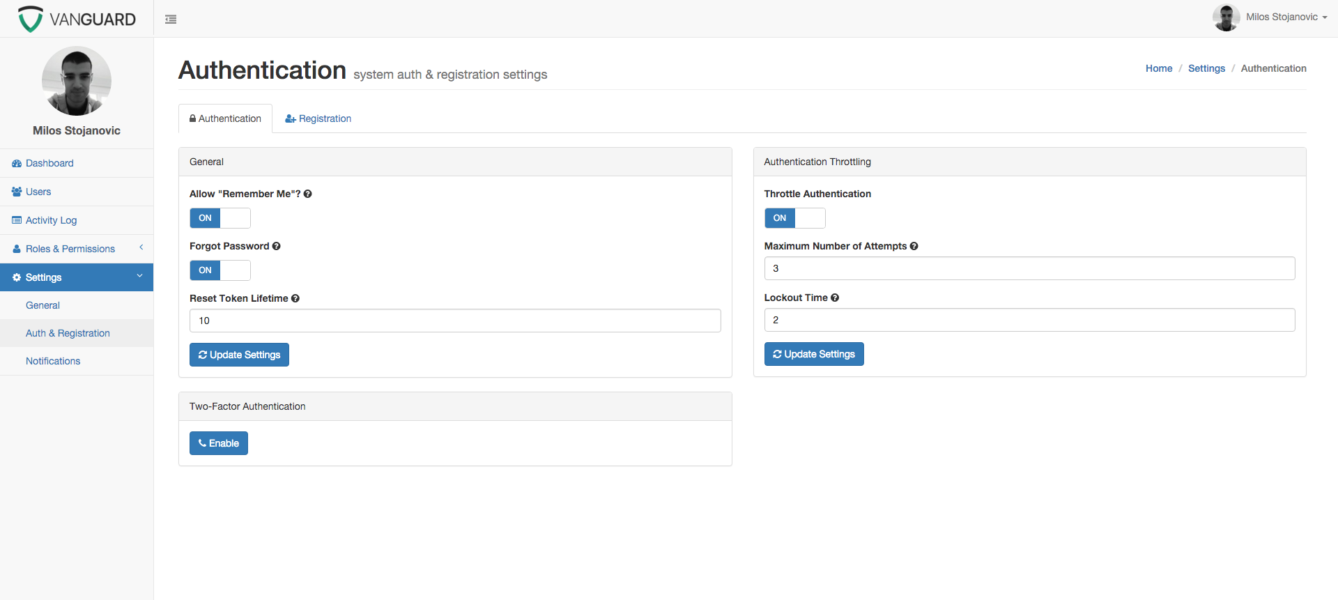 Vanguard - Advanced PHP Login and User Management by loshMiS ...