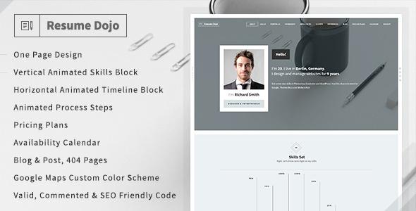 resumedojo resume portfolio html premium theme by themes dojo