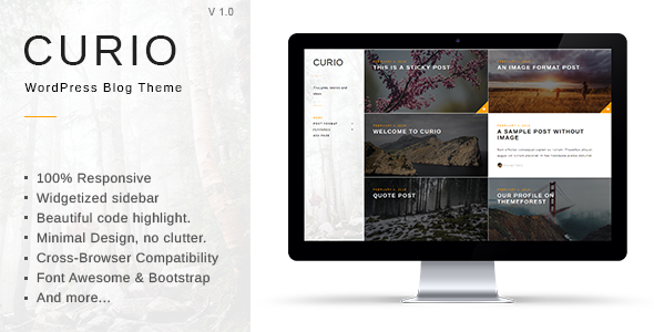 Curio responsive minimal blog theme by gbjsolution themeforest pronofoot35fo Gallery